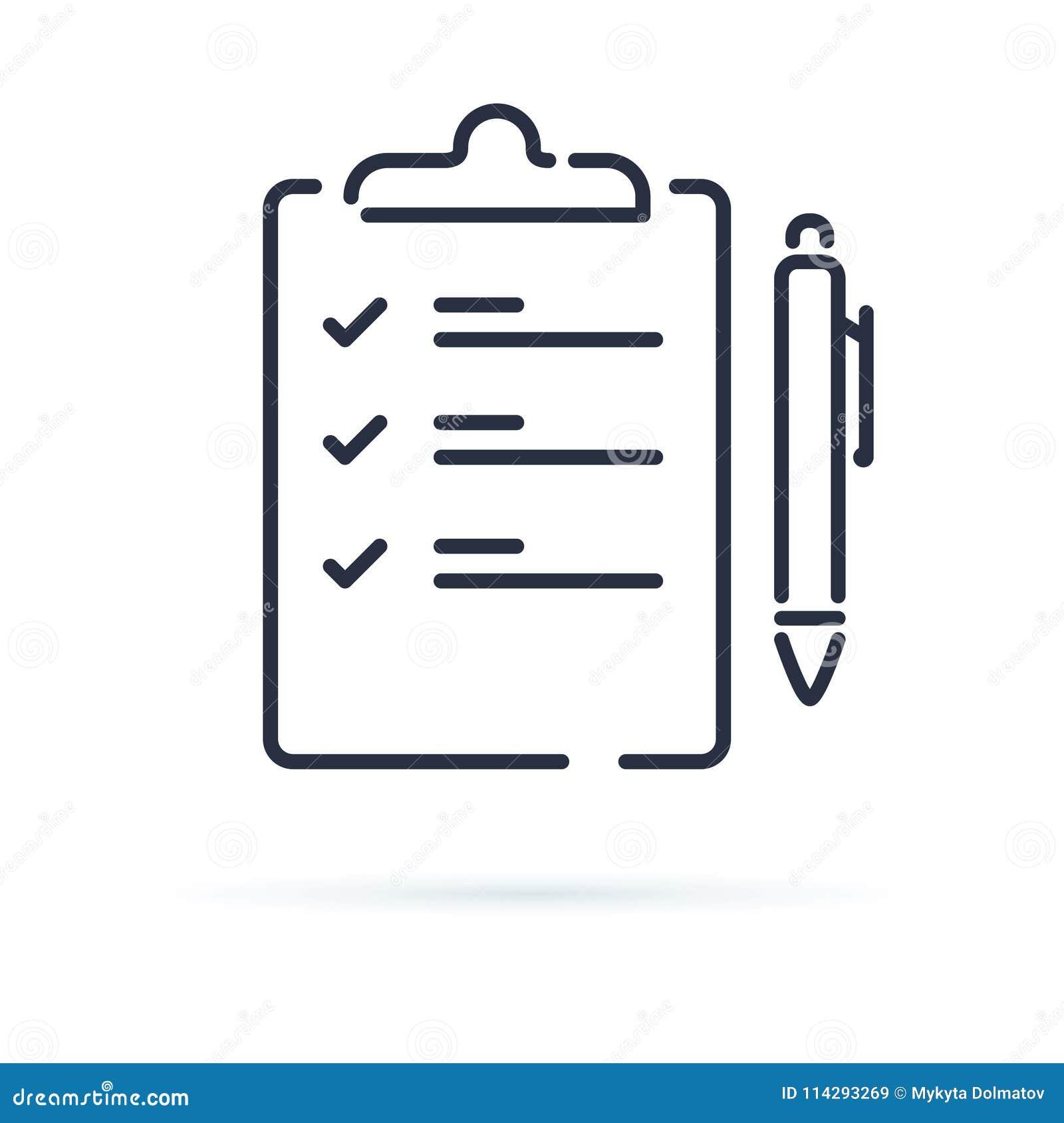 测验在白色背景隔绝的传染媒介象 同笔例证的合同 企业议程或协议