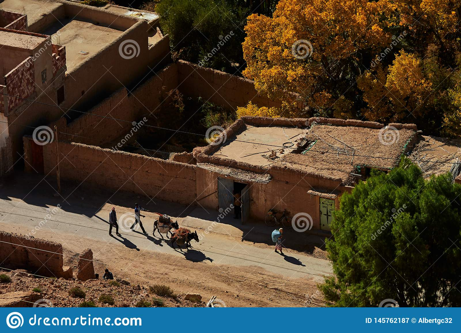 济兹河谷,Moroco - 2018年12月03日:驴运输