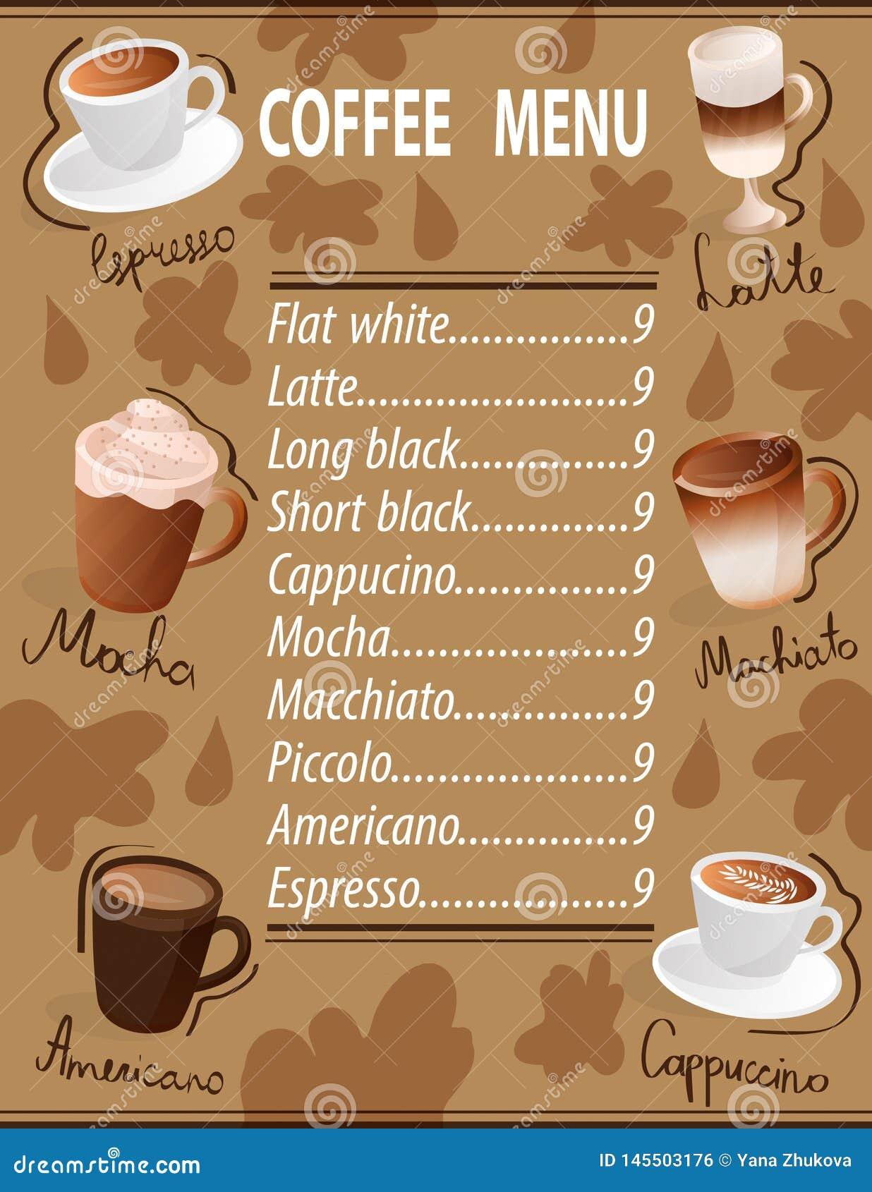 浓咖啡machiato拿铁americano上等咖啡热奶咖啡集合咖啡菜单杯子饮料
