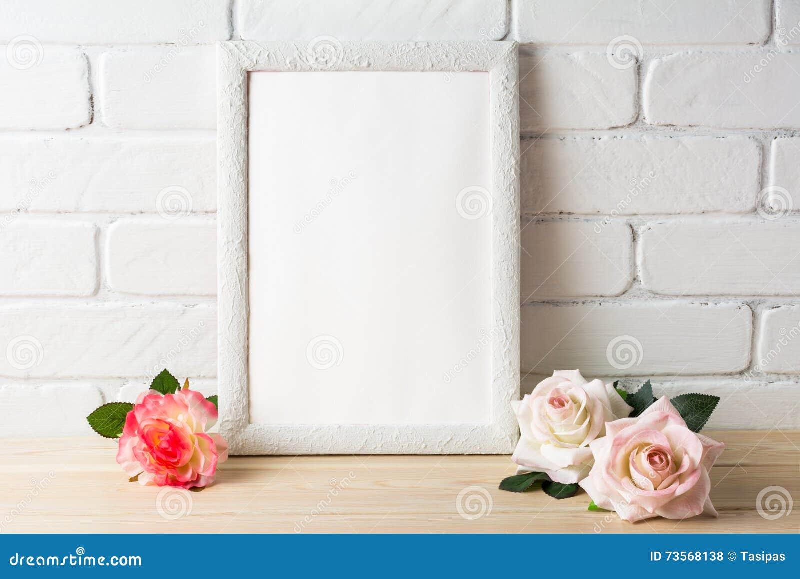 浪漫与玫瑰的样式白色框架大模型