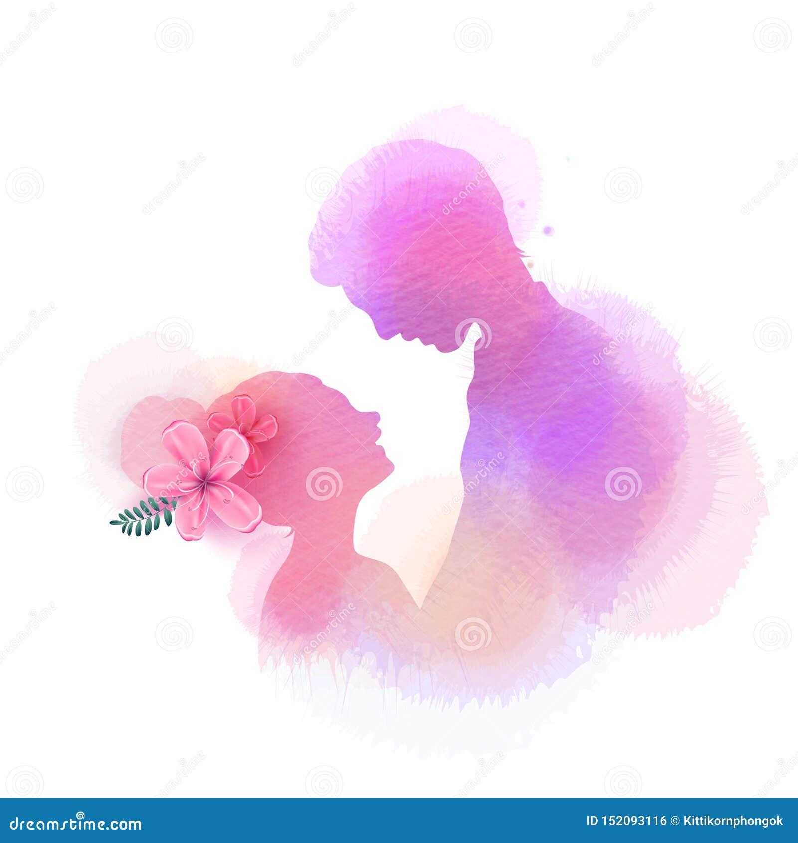浪漫华伦泰恋人在水彩背景现出轮廓 在第一个标志概念的爱 订婚夫妇 愉快的华伦泰的