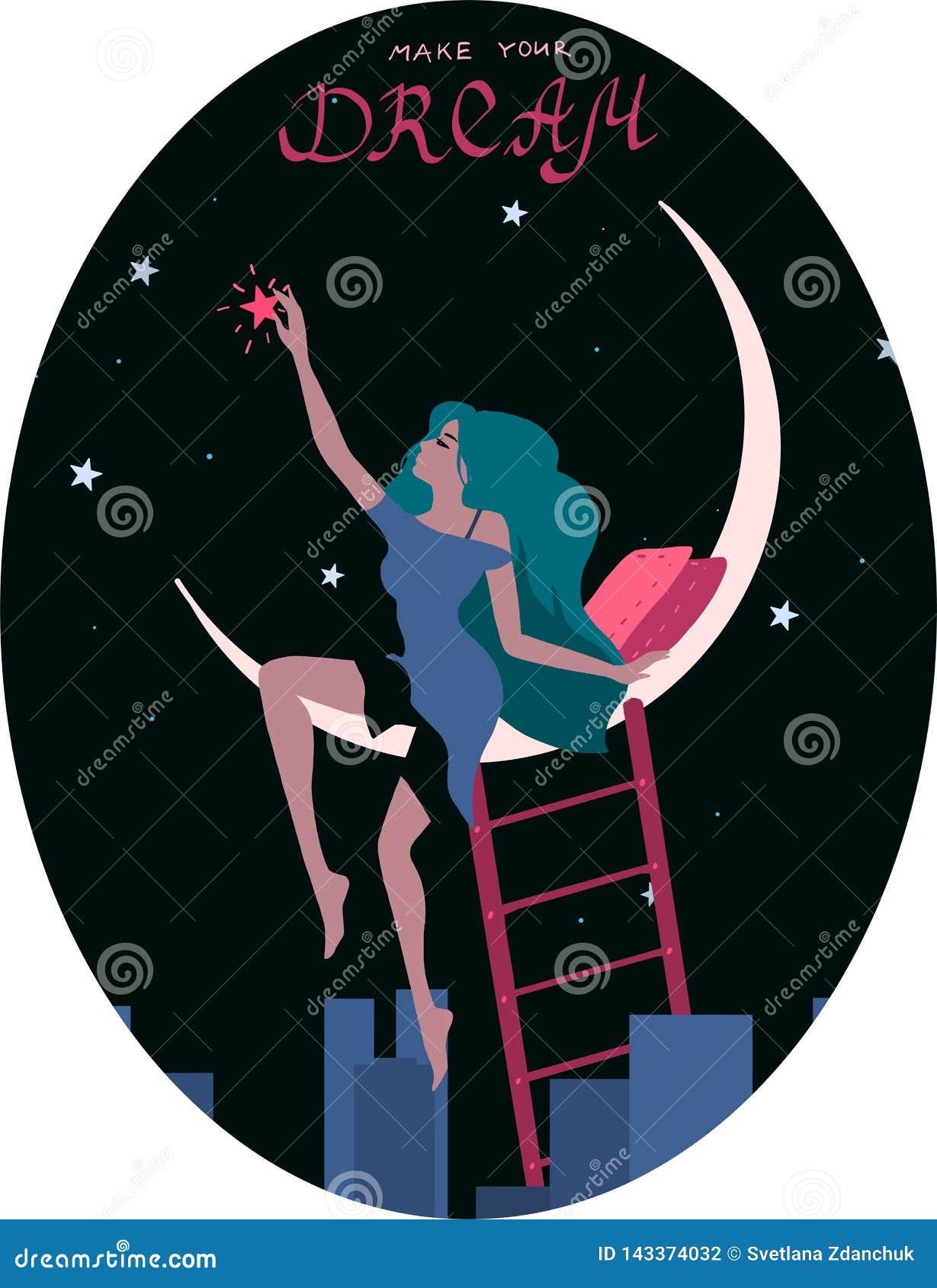 浪漫妇女梦想得到星坐月亮 也corel凹道例证向量