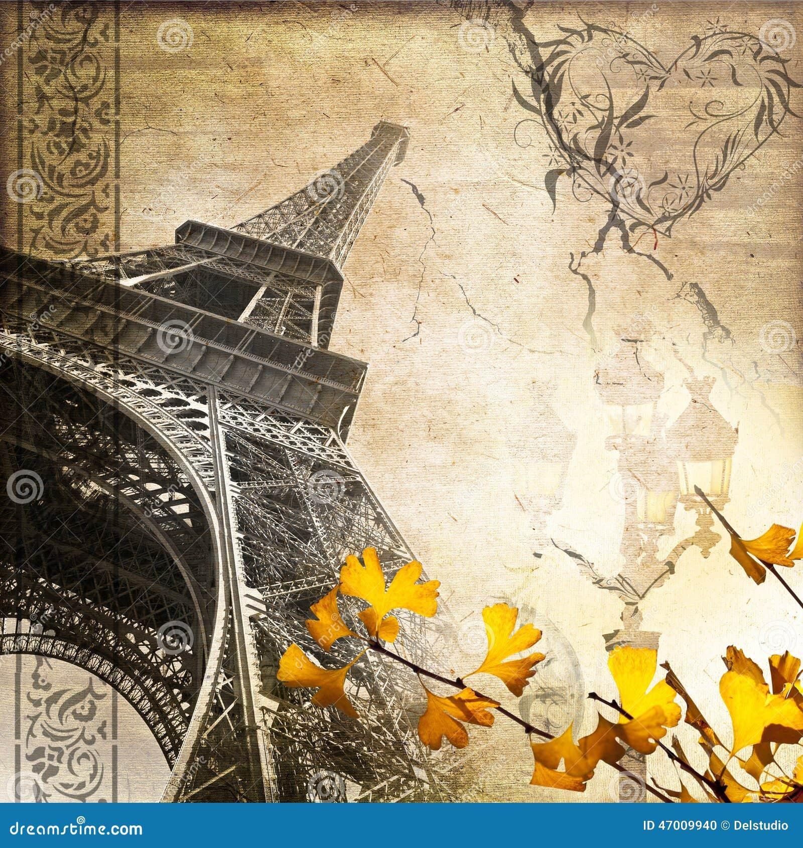 浪漫葡萄酒巴黎拼贴画埃佛尔铁塔