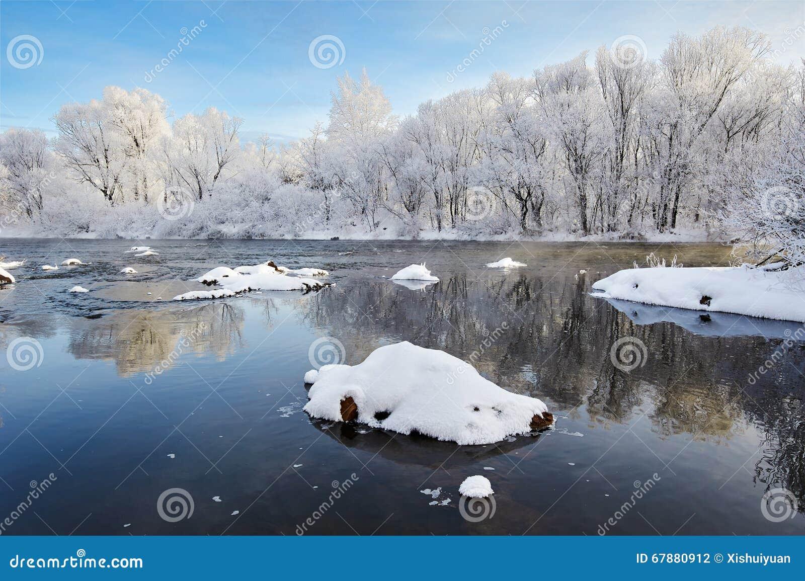 浮动冰和软的霜风景