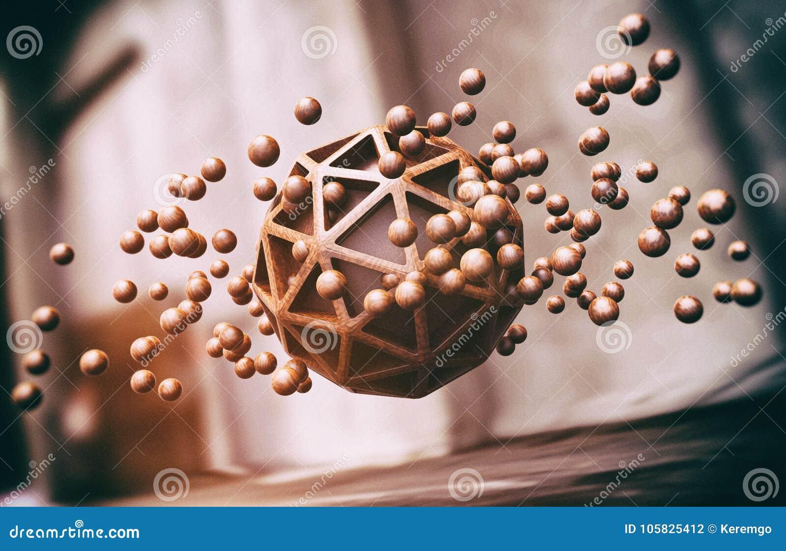 浮动木球形抽象背景