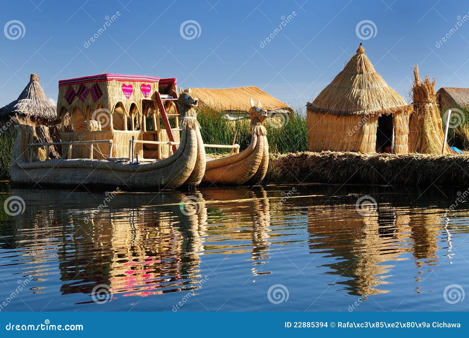 浮动的海岛湖秘鲁titicaca uros