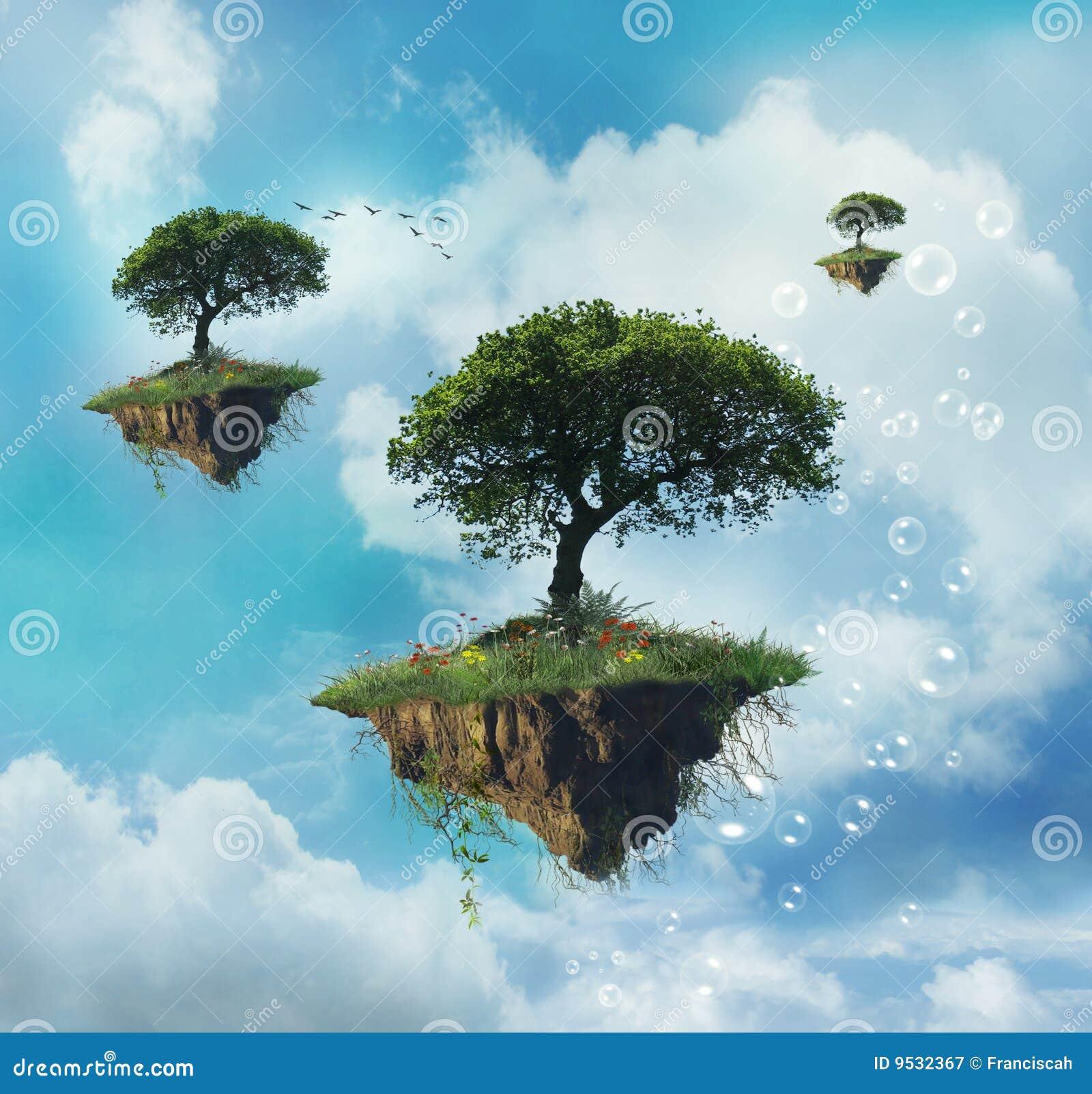 美妙的浮动的绿色天堂海岛树型视图.