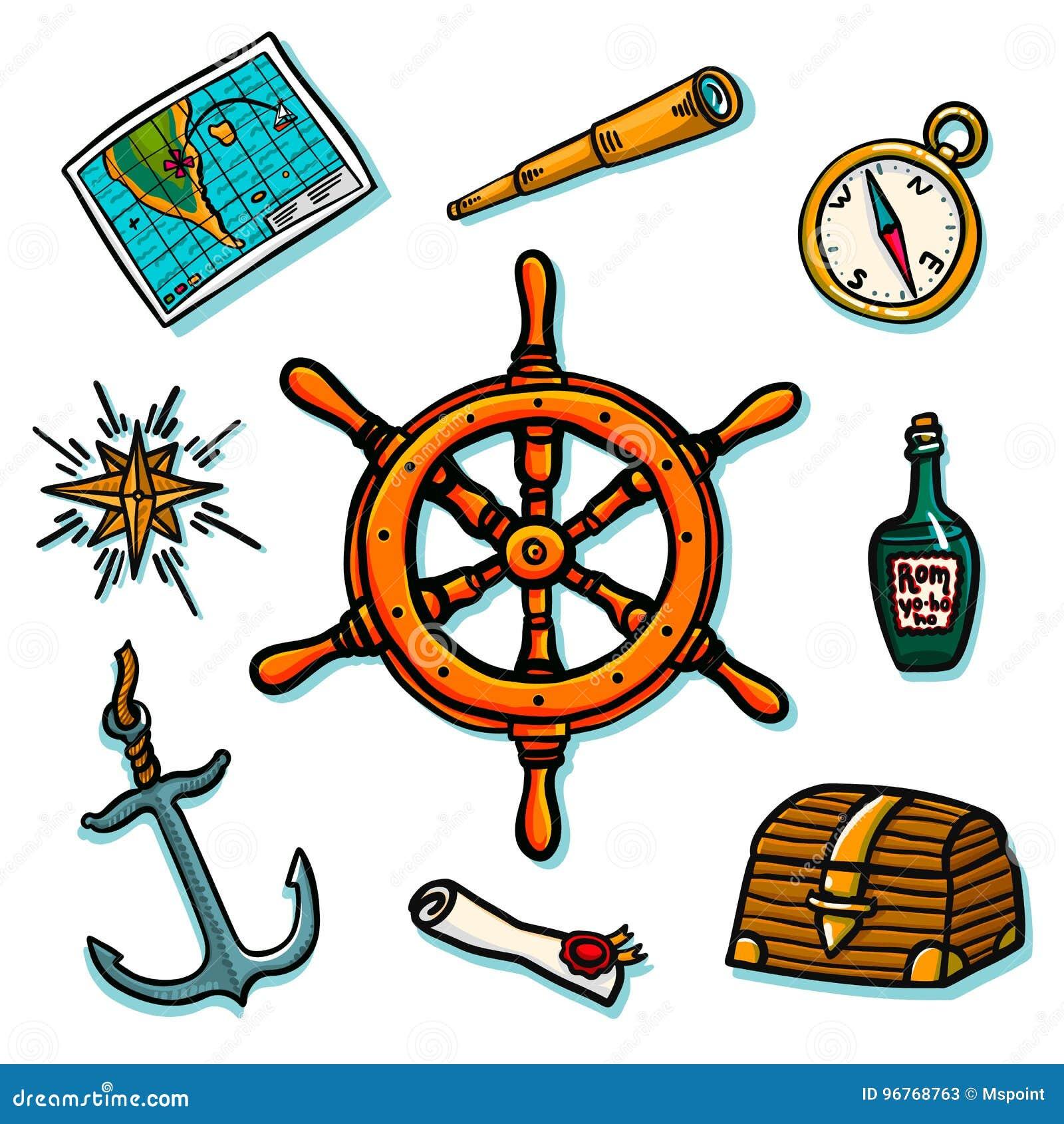 海军陆战队员集合 在白色背景的舰上设备 树干,舵,地图,纸卷,指南针,风上升了,兰姆酒瓶