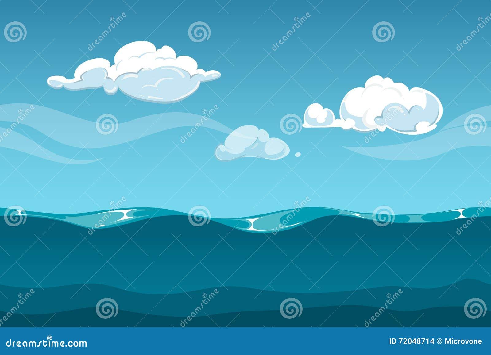 成人电影天空_海或海洋与天空和云彩的动画片风景 计算机游戏设计的