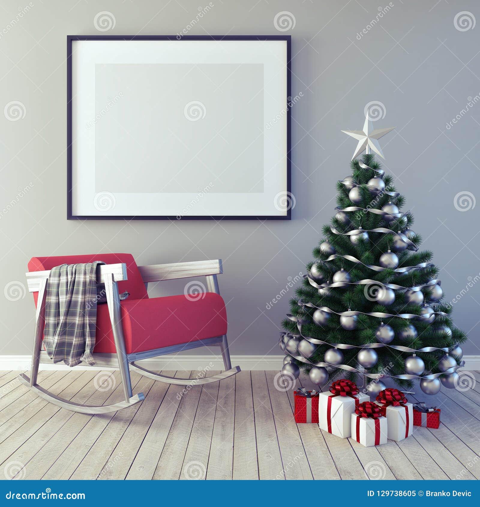 海报,圣诞装饰,新年,3d的嘲笑回报