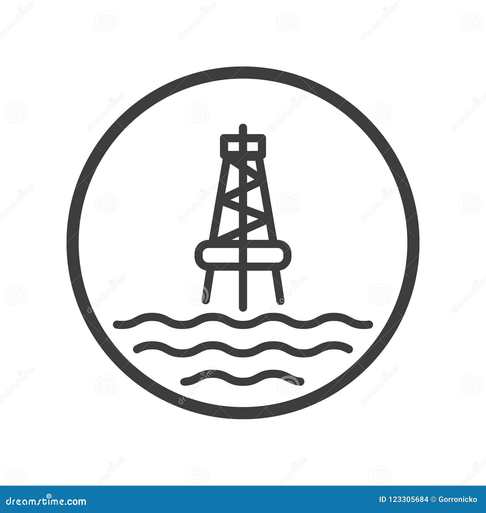 海洋油驻地的线艺术象在圆的框架的