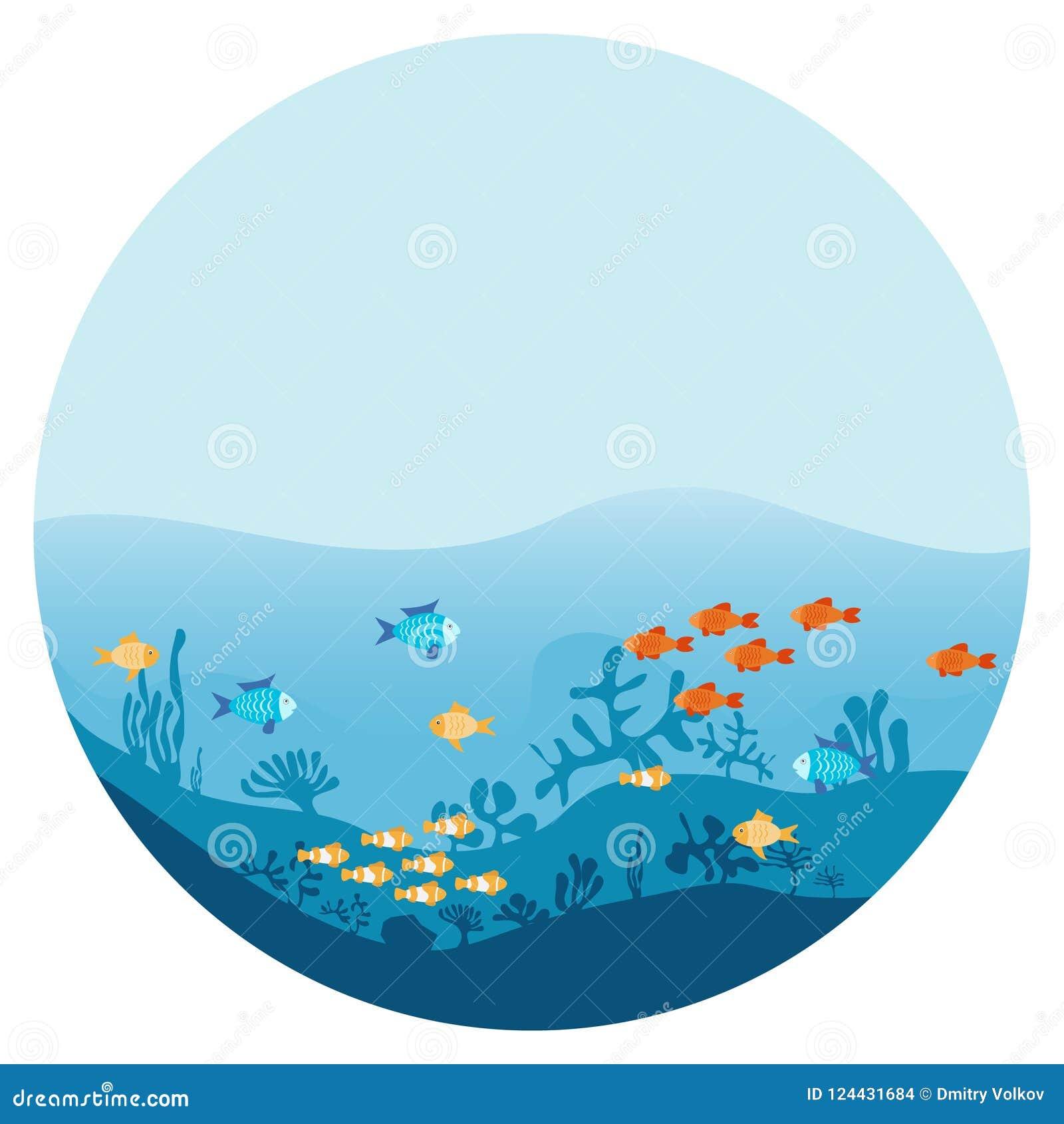 海洋的底部有海草和鱼的 用不同的鱼的海水下的背景 与海藻和珊瑚的海洋场面