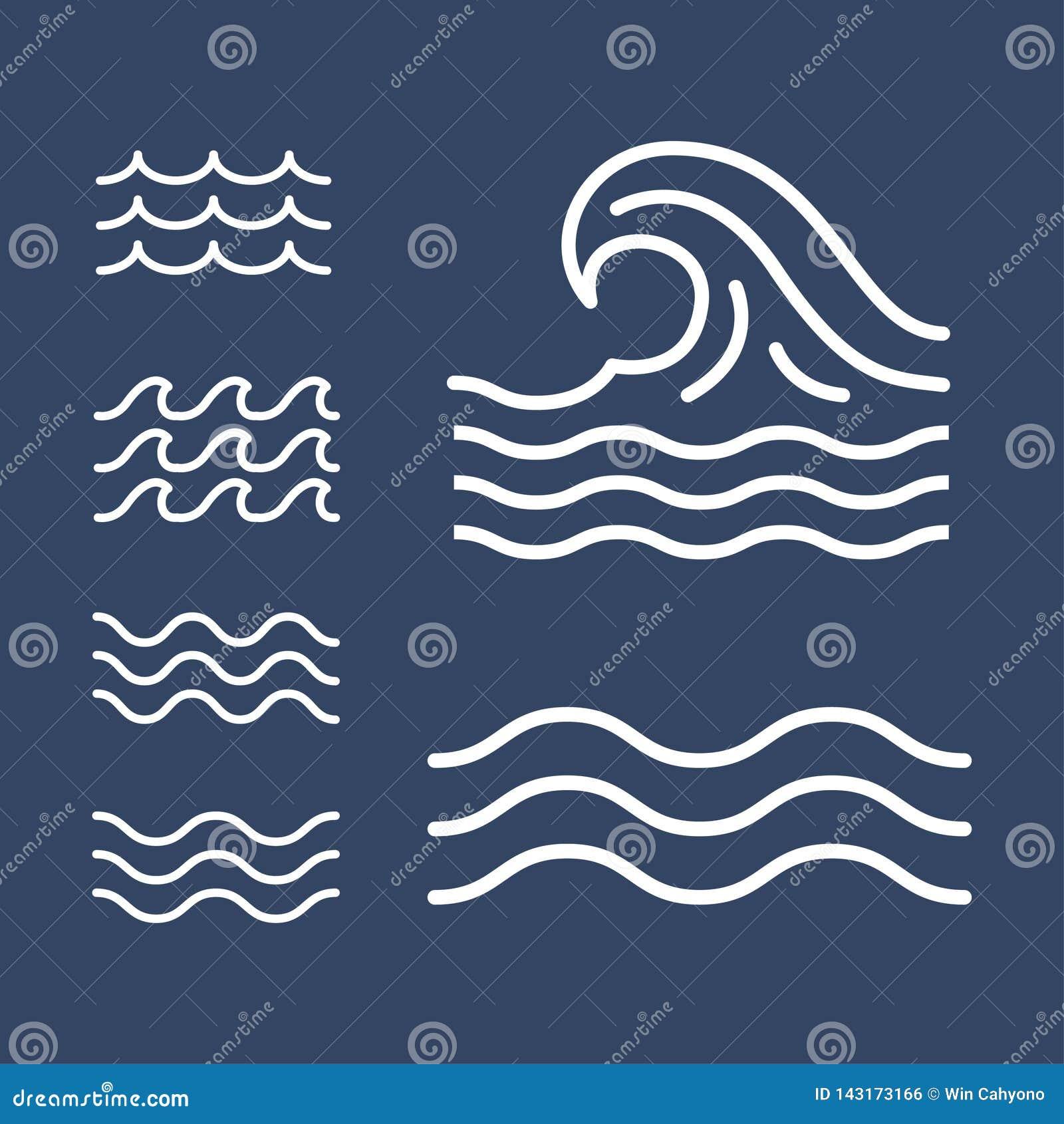 海洋,海波浪平的简单的线,象