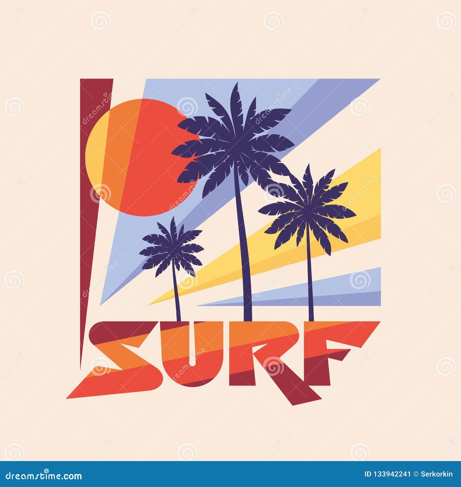 海浪-传染媒介在葡萄酒图表样式的例证概念T恤杉和其他印刷品生产的 棕榈,太阳例证 荒地