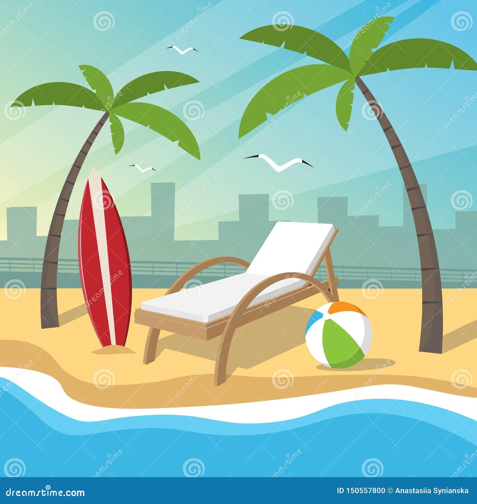 海滩以堤防和城市为背景的假日项目
