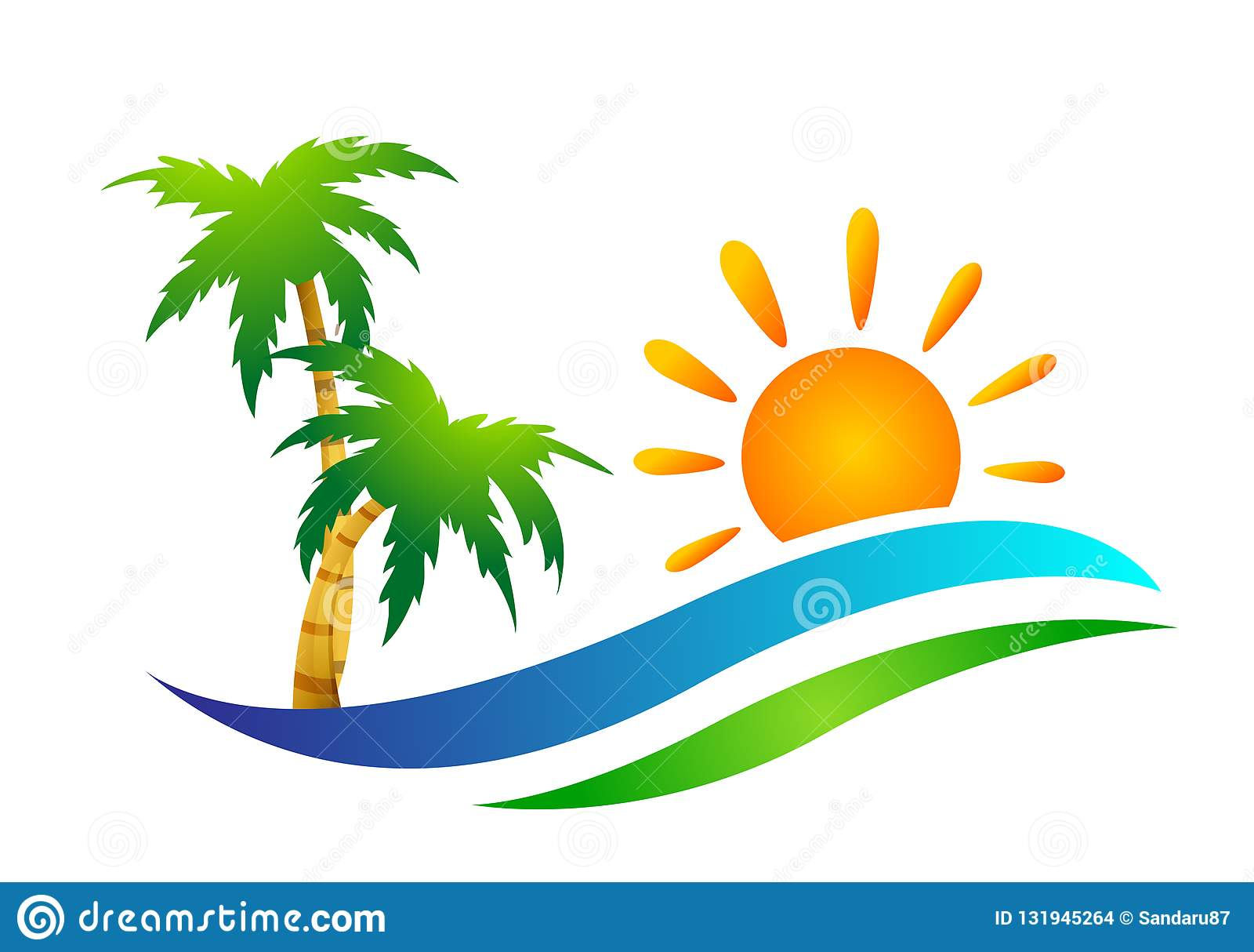 海滩商标水波旅馆旅游业假日夏天海滩可可椰子树传染媒介商标设计在白色背景的海岸象