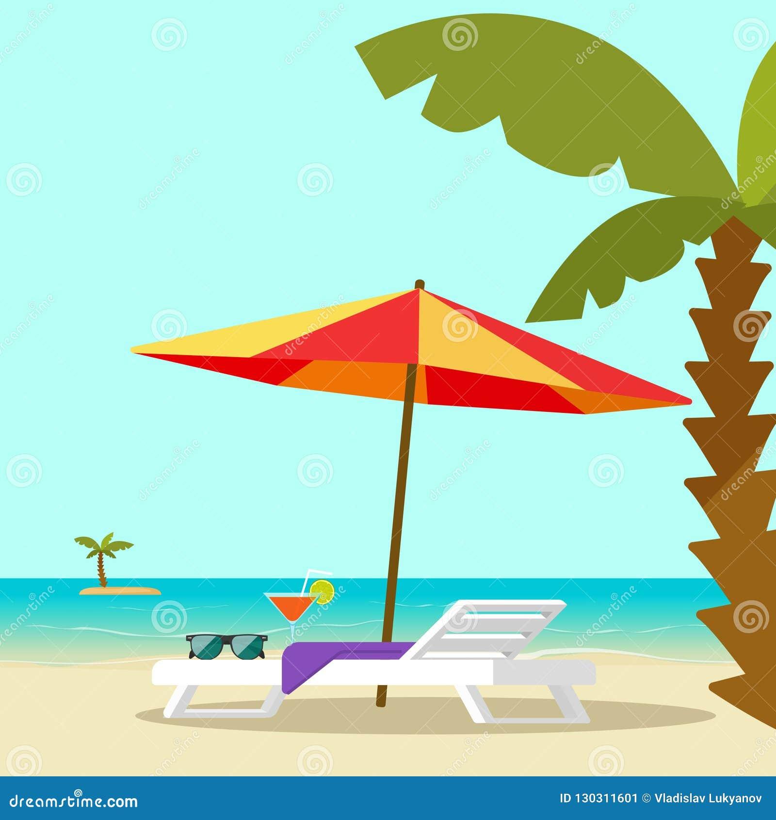 海滩在海和阳伞和棕榈传染媒介例证,平的动画片沿海岸区手段风景附近的躺椅与
