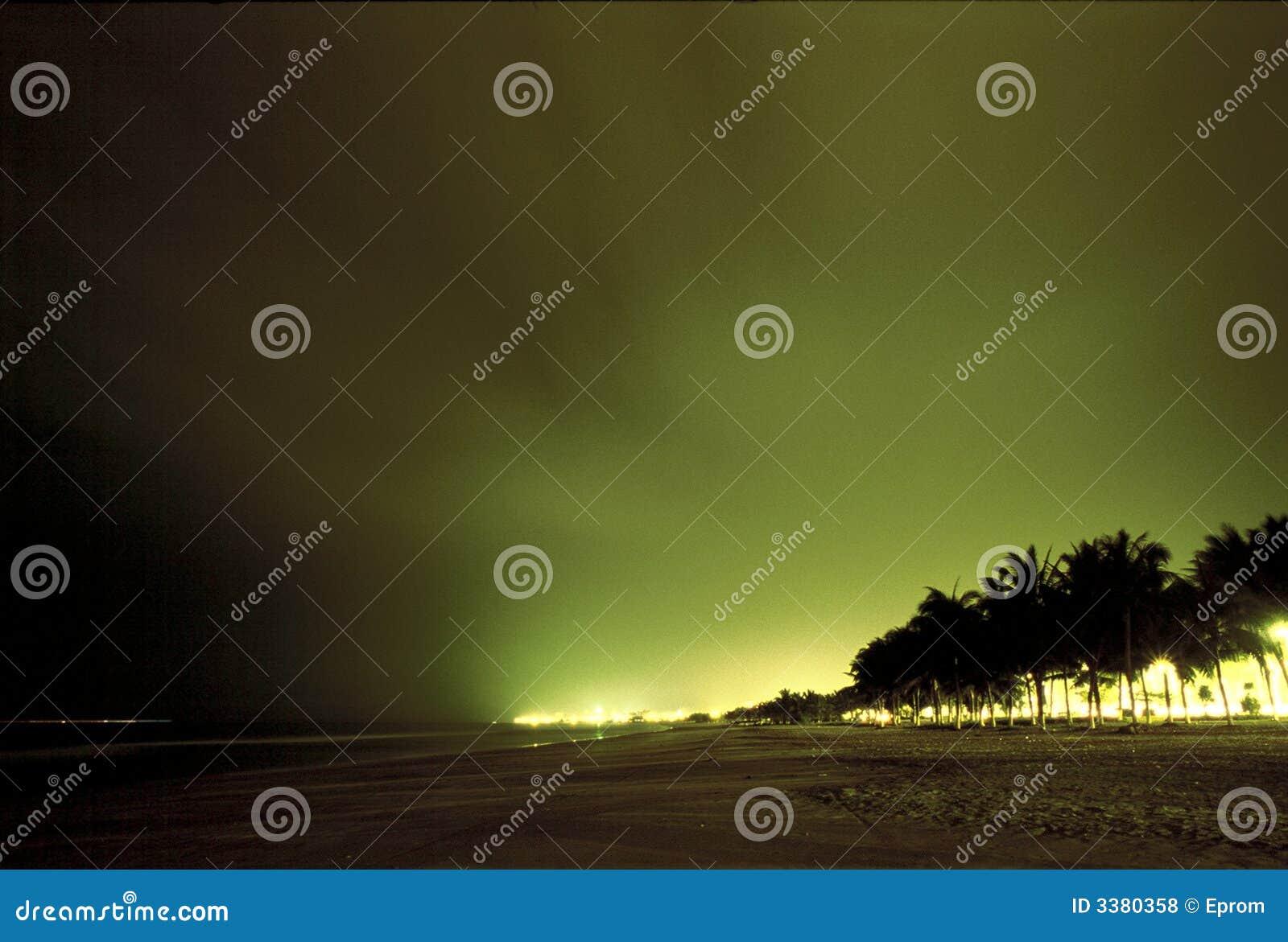 海滩城市晚上视图