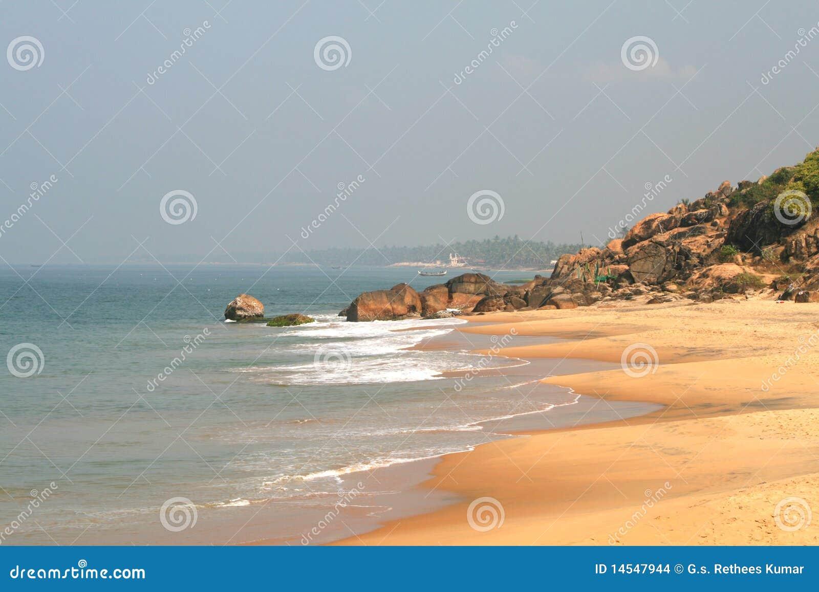 海滩印度kovalam海洋石头.图片