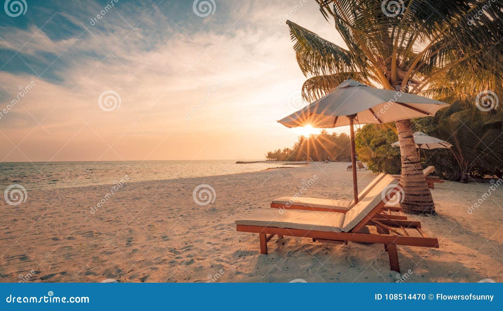 海滩美好的日落 在沙滩的椅子在海附近 暑假和假期概念 激动人心的热带场面