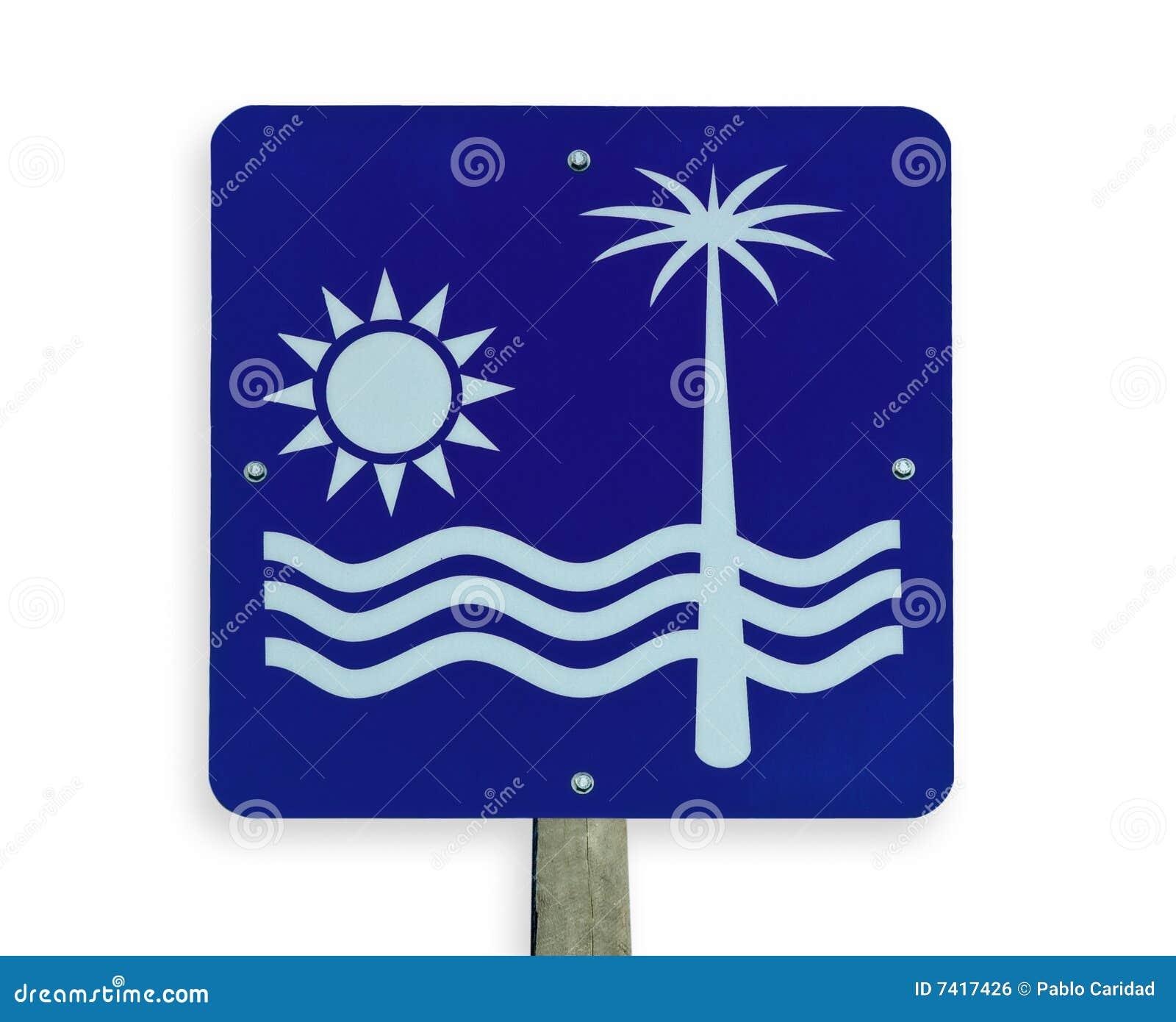 海滩裁减路线路标