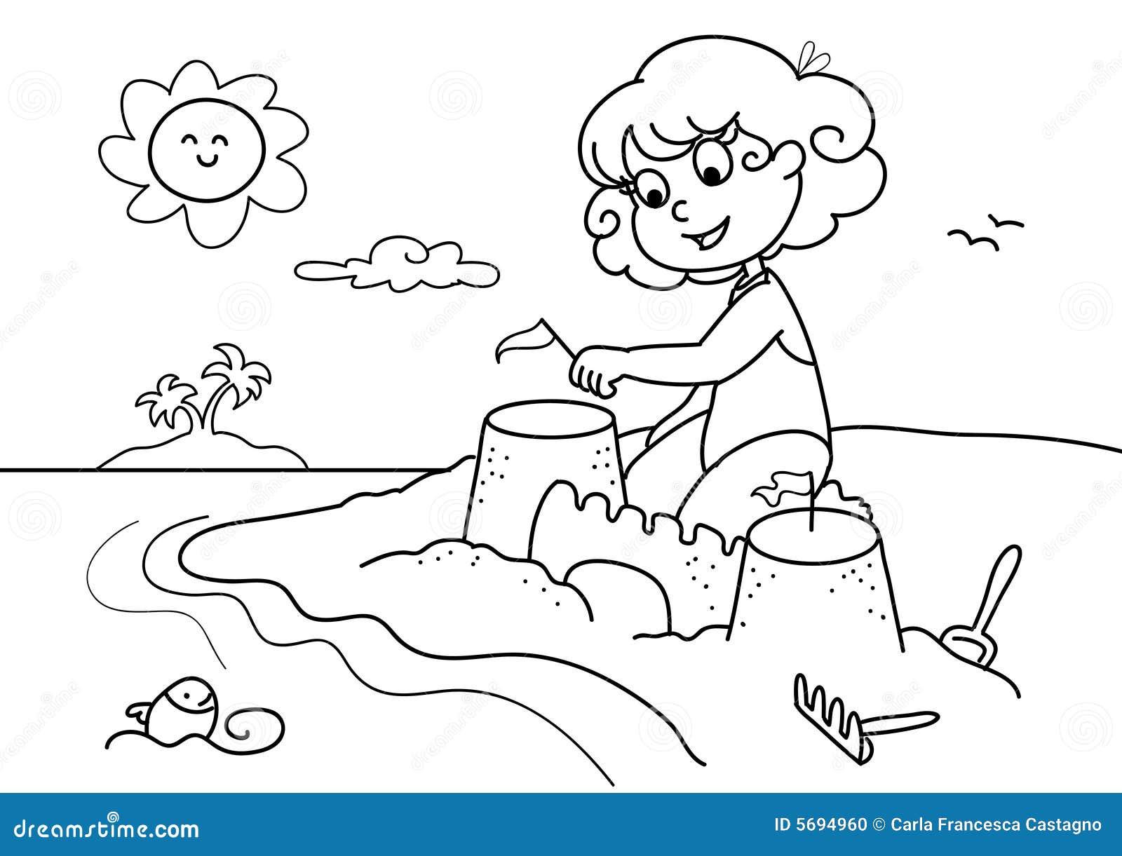 海滩bw女孩年轻人 向量例证 插画 包括有 沙子 作用 孩子 单色 使用 海岛 艺术 微笑