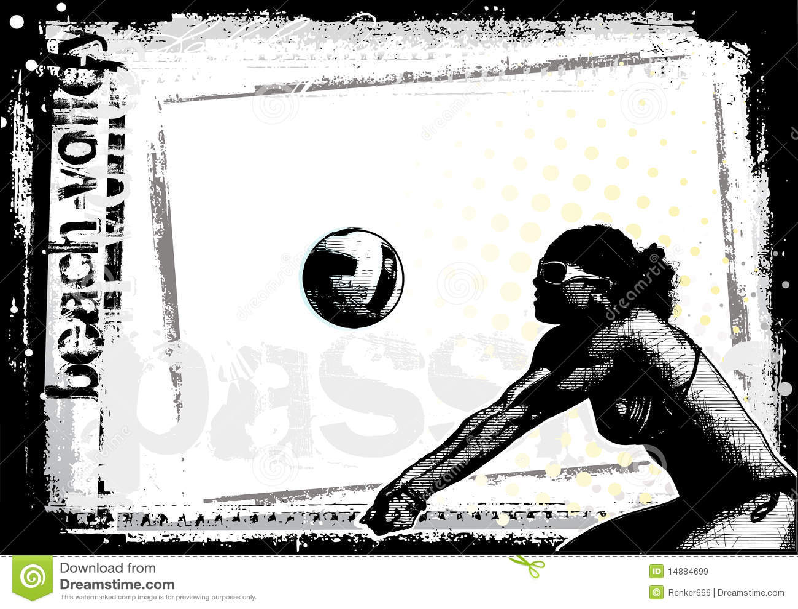 背景海滩女孩好的海报排球.