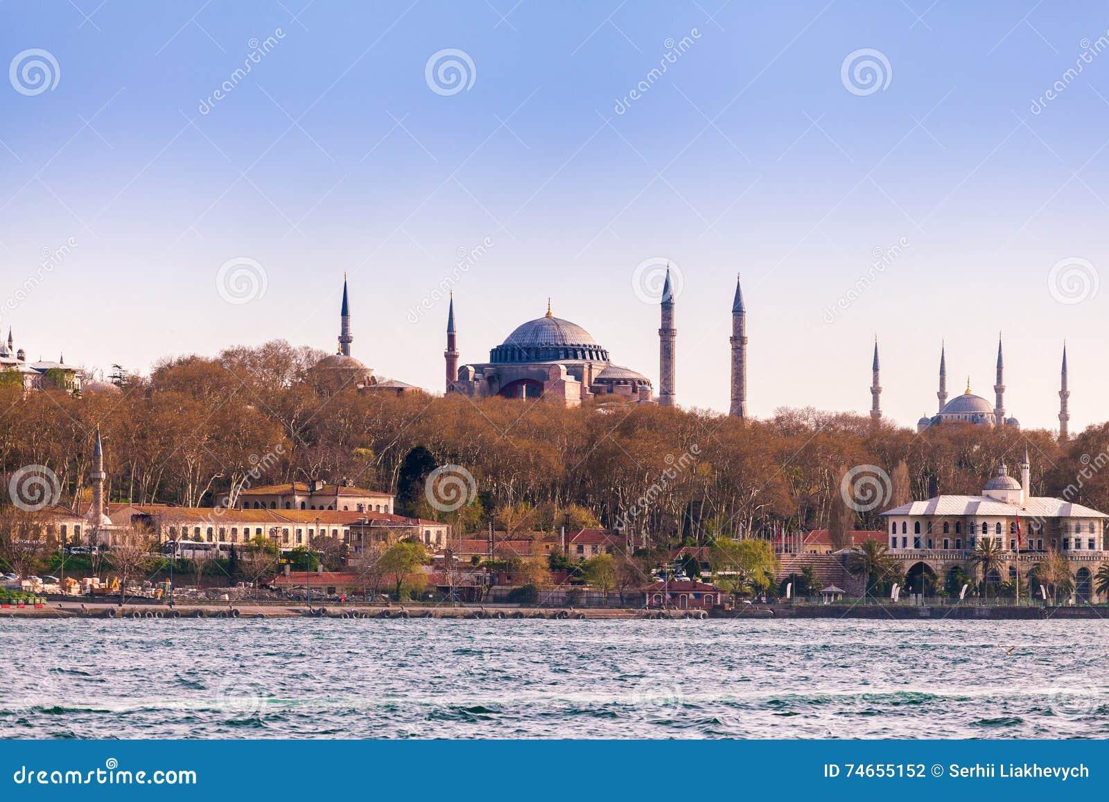 从海的伊斯坦布尔视图 著名hagia伊斯坦布尔sophia 旅行土耳其