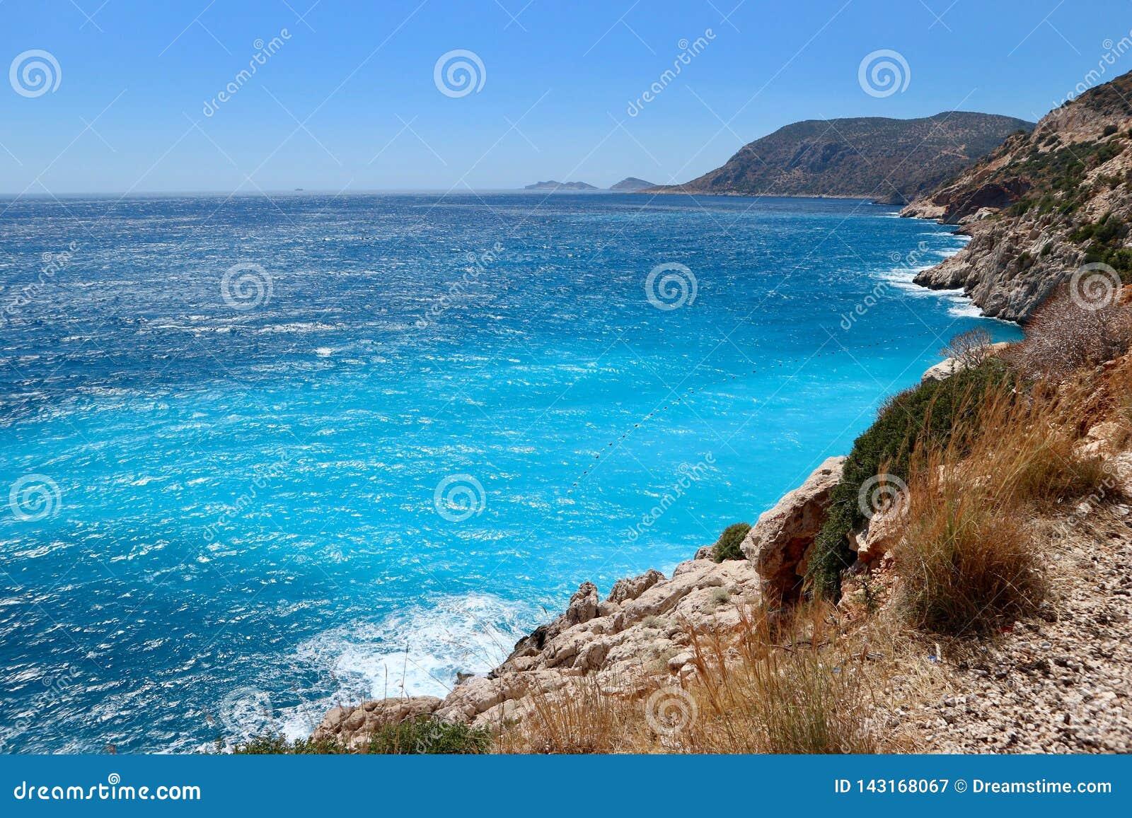海的射击在Kaputas海滩,土耳其附近的