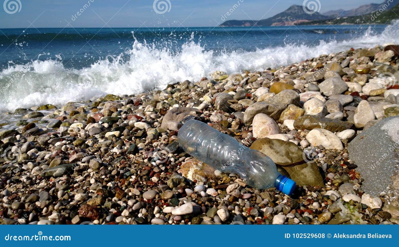 海的波浪洗涤了一个空的塑料瓶 环境污染-在风景点的垃圾