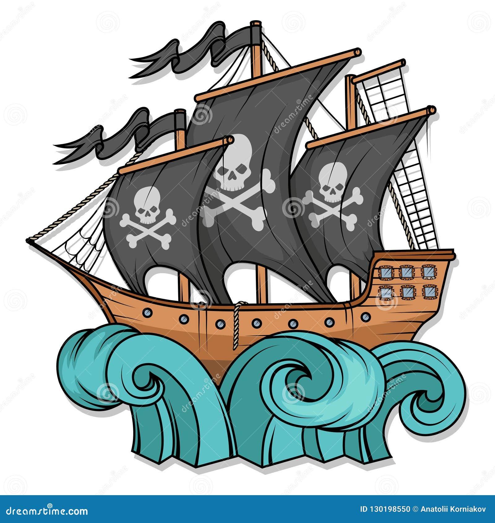 海盗船或小船例证,隔绝在白色背景,动画片海海盗船,海上的帆船