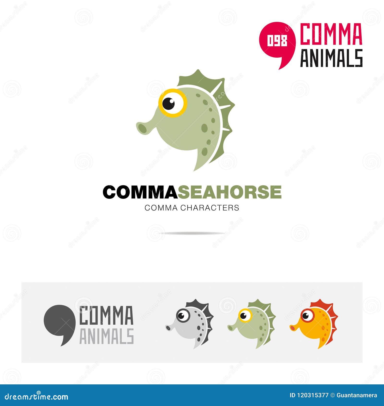 海象动物概念象集合和现代品牌身份商标模板和根据逗号的app标志签字