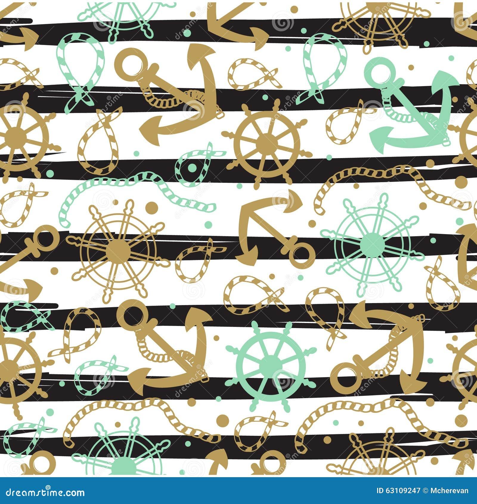 无缝的抽象海洋样式 海锚,绳索和轮子 船舶夏天行家背景 为纸,墙纸