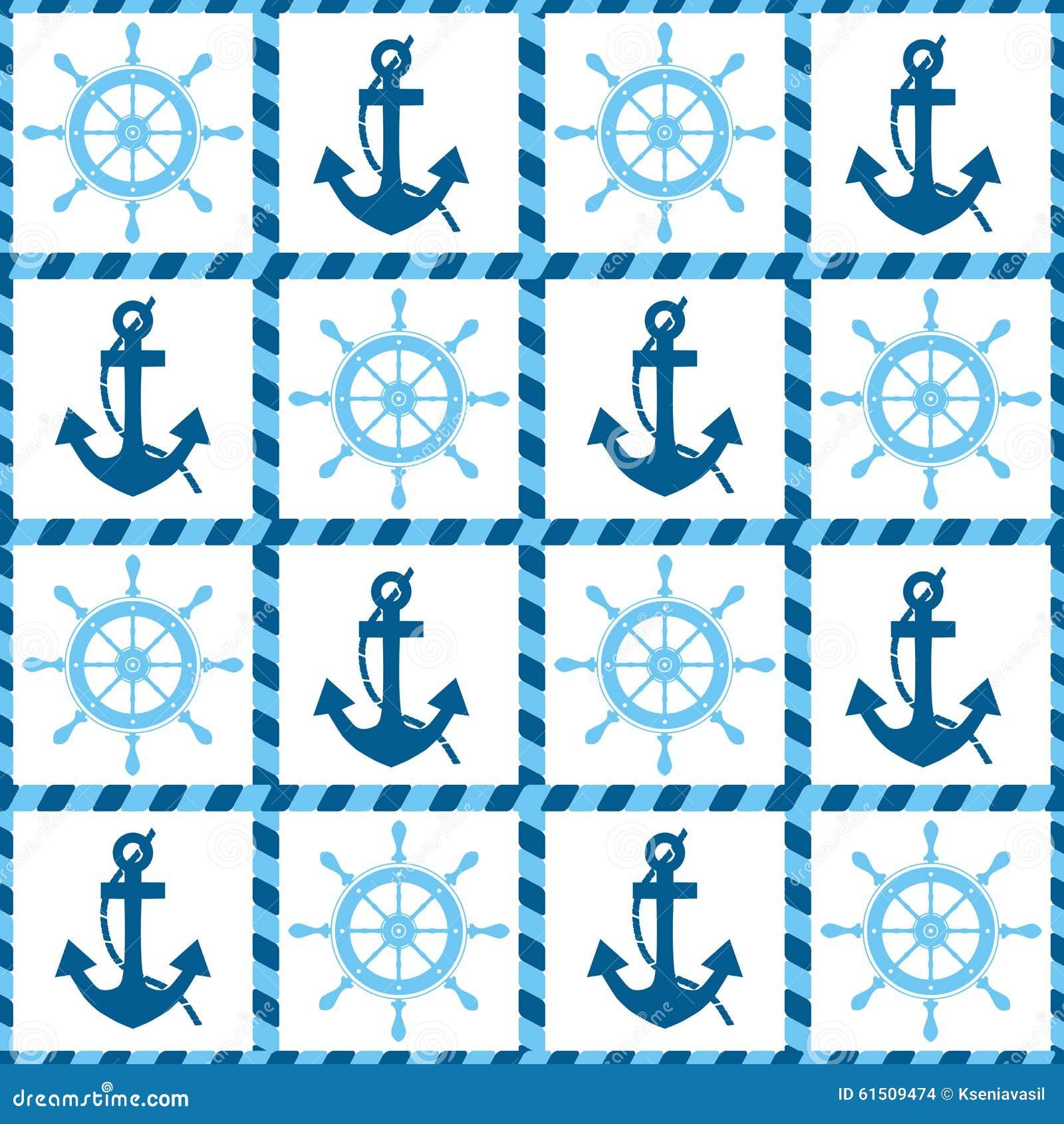 海锚和舵的无缝的样式