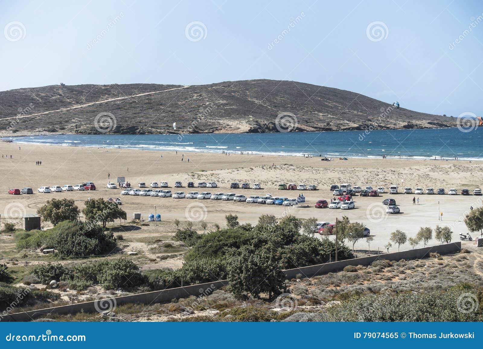 海滩在罗得岛的Prassonisi