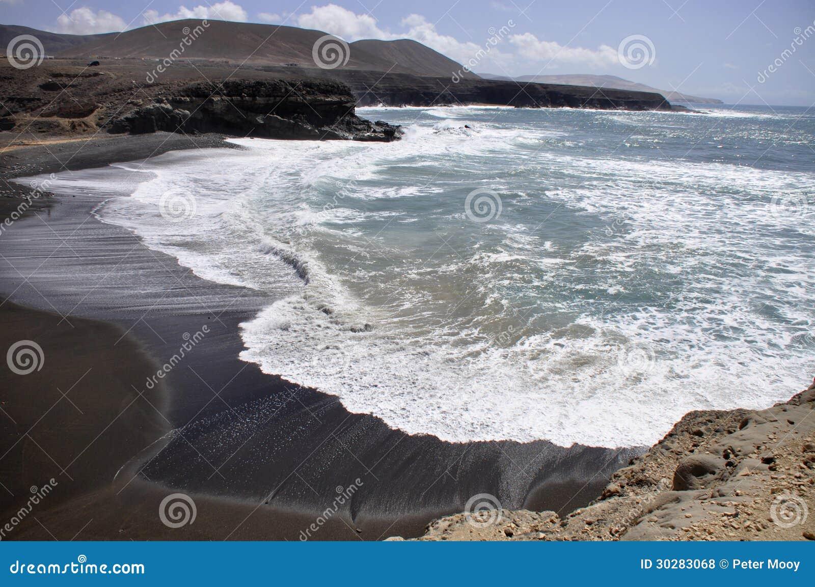 黑海滩在费埃特文图拉岛
