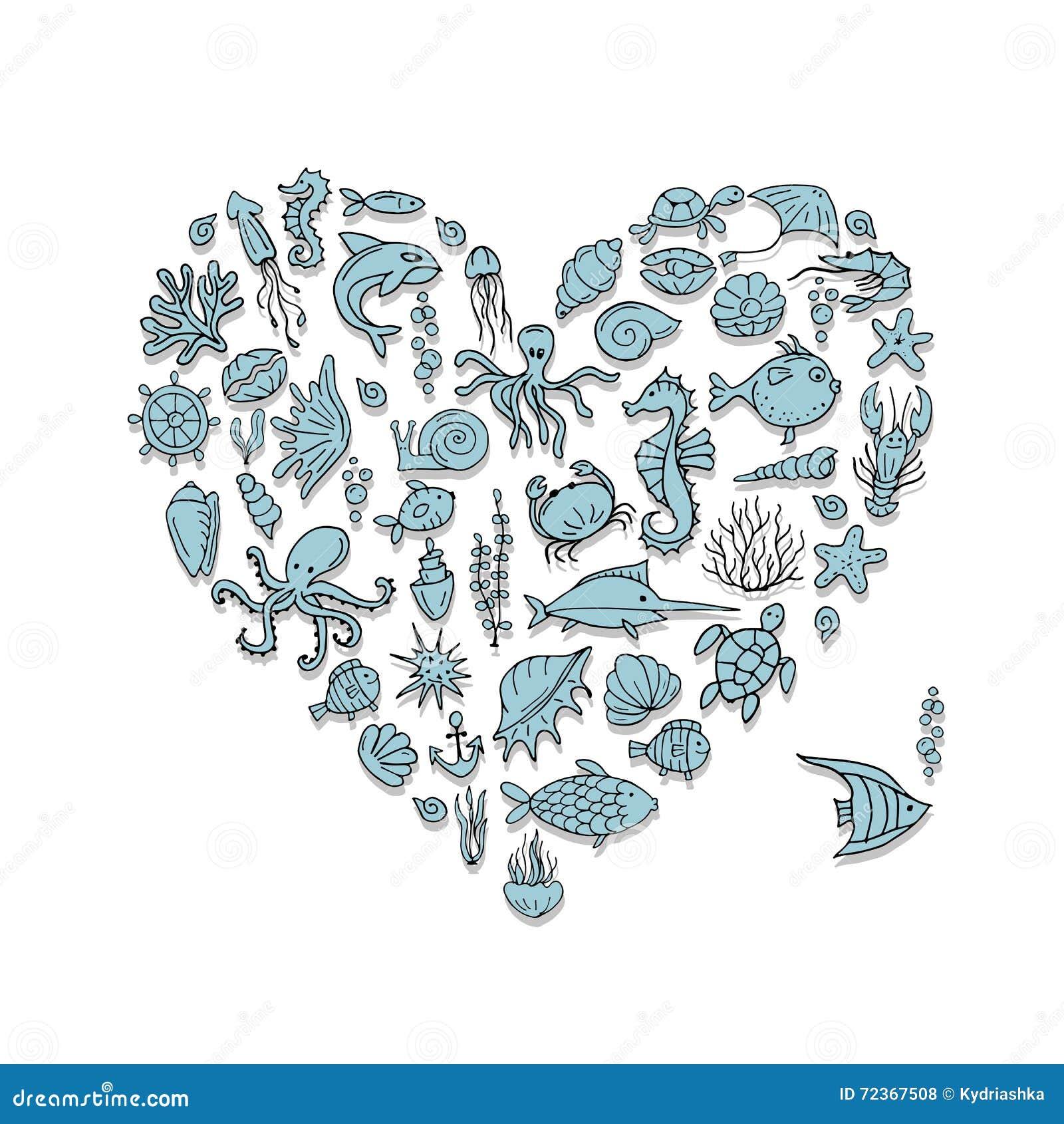 海洋生物,心脏您的设计的形状剪影