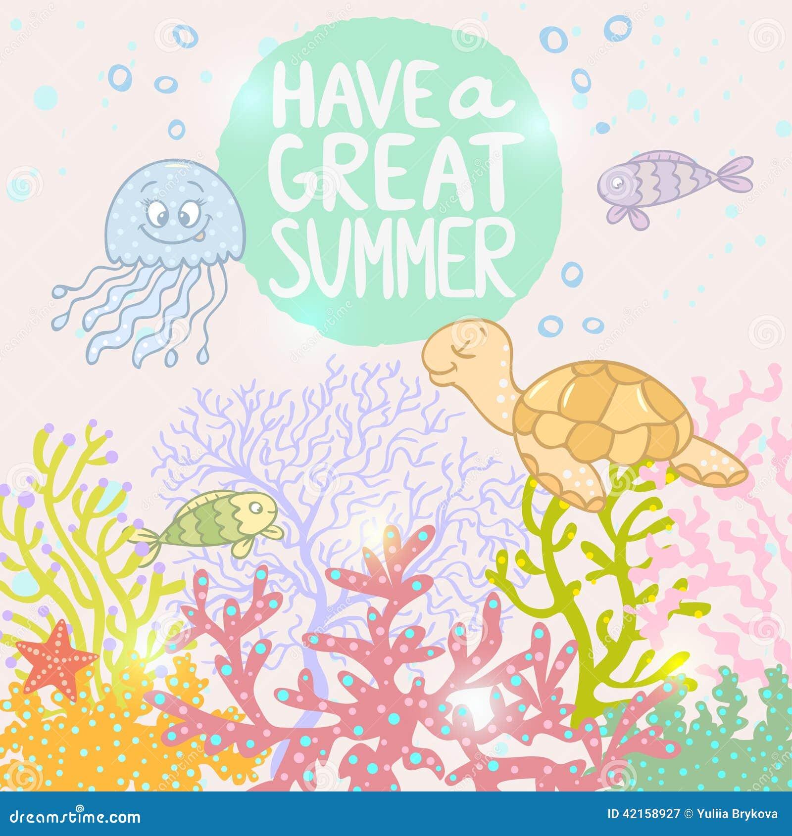 有动画片逗人喜爱的鱼,水母和乌龟的美丽和时髦的背景海.图片
