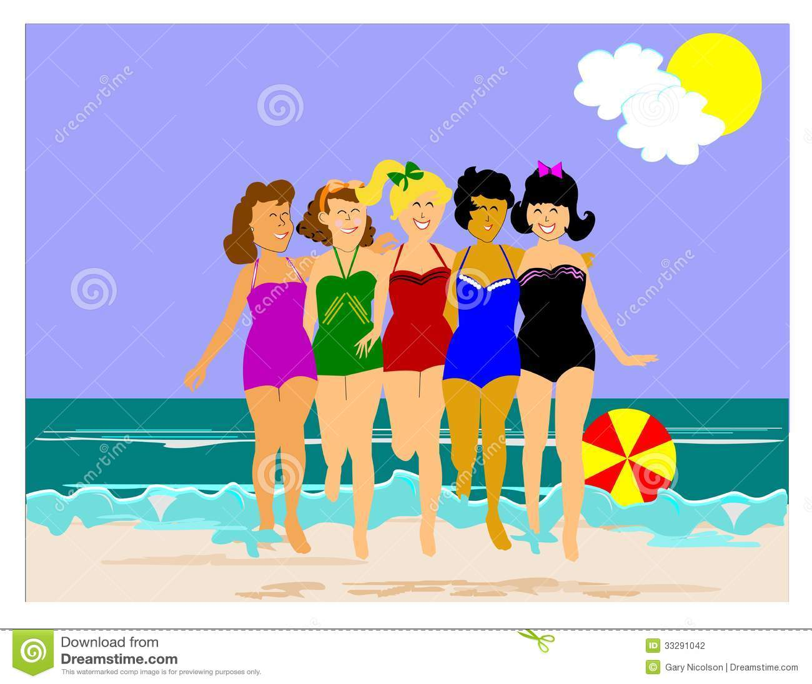 海滩的5个减速火箭的夫人