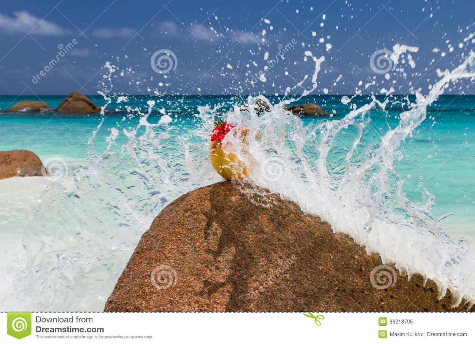 海洋风景海滩蓝色水彩岩石石头天空飞溅椰子红色花.图片