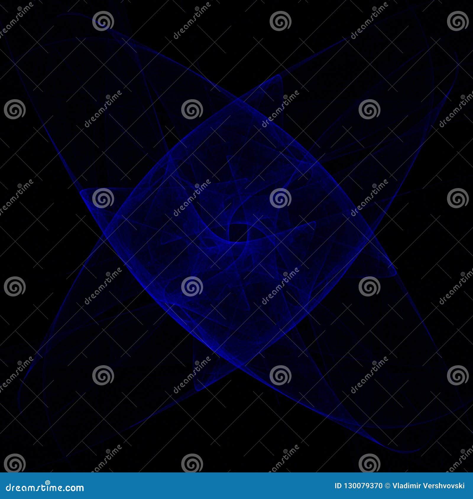 浸没#5 在黑背景的蓝色分数维构成