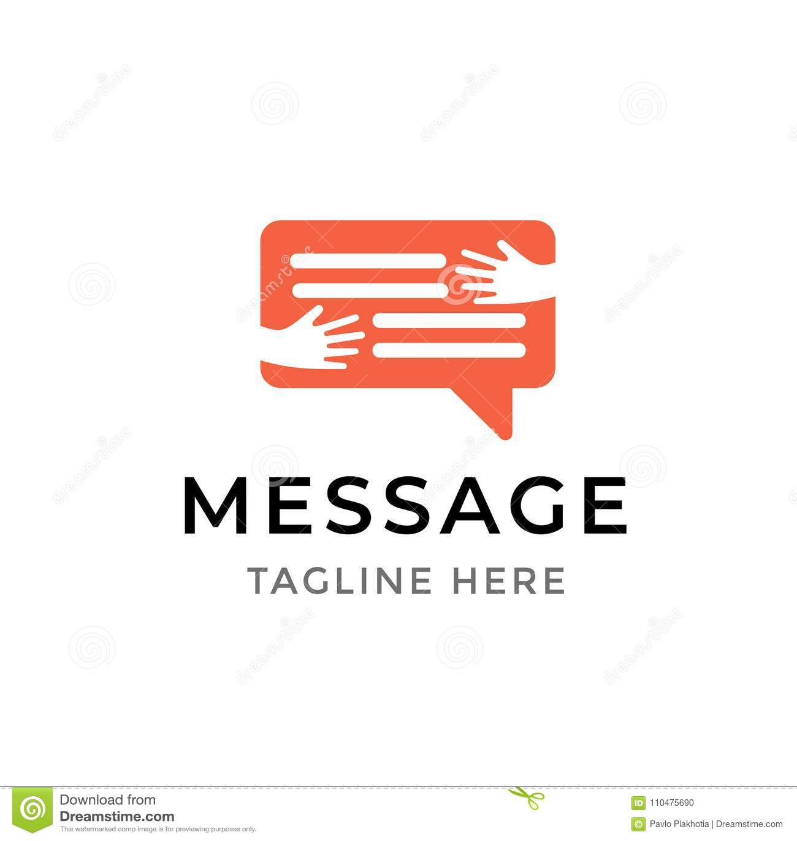 消息通信商标设计 接受闲谈泡影的人的手的模板标志被隔绝 社会媒介传讯
