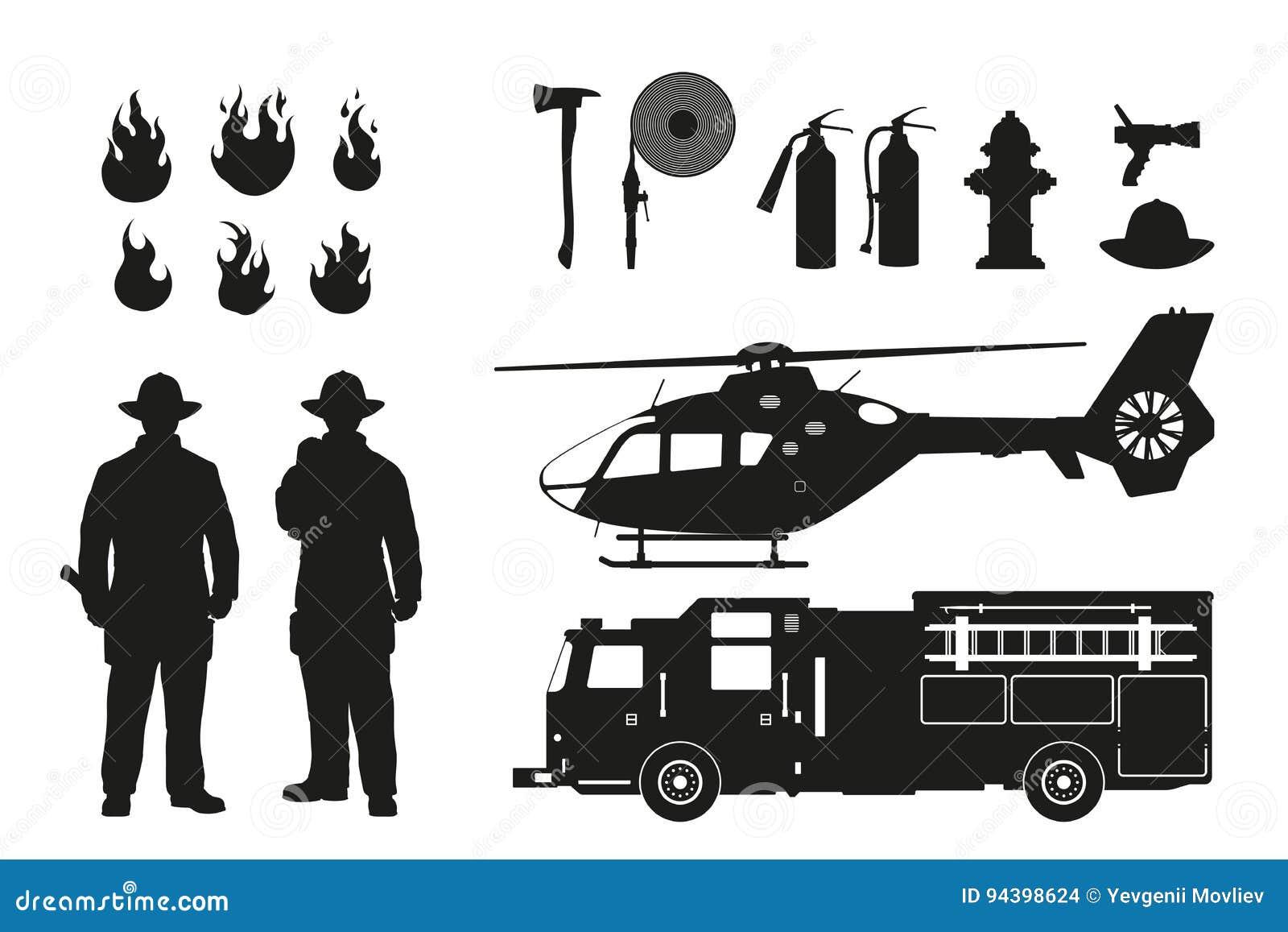 消防队员和消防设备黑剪影在白色背景 直升机和firemans汽车