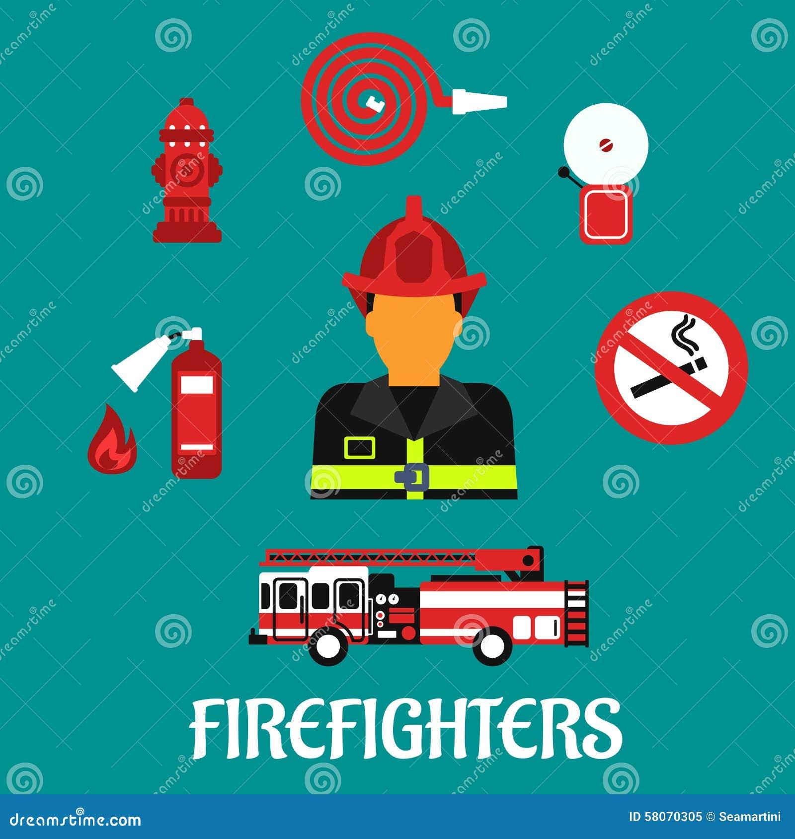 消防队员行业颜色平的象