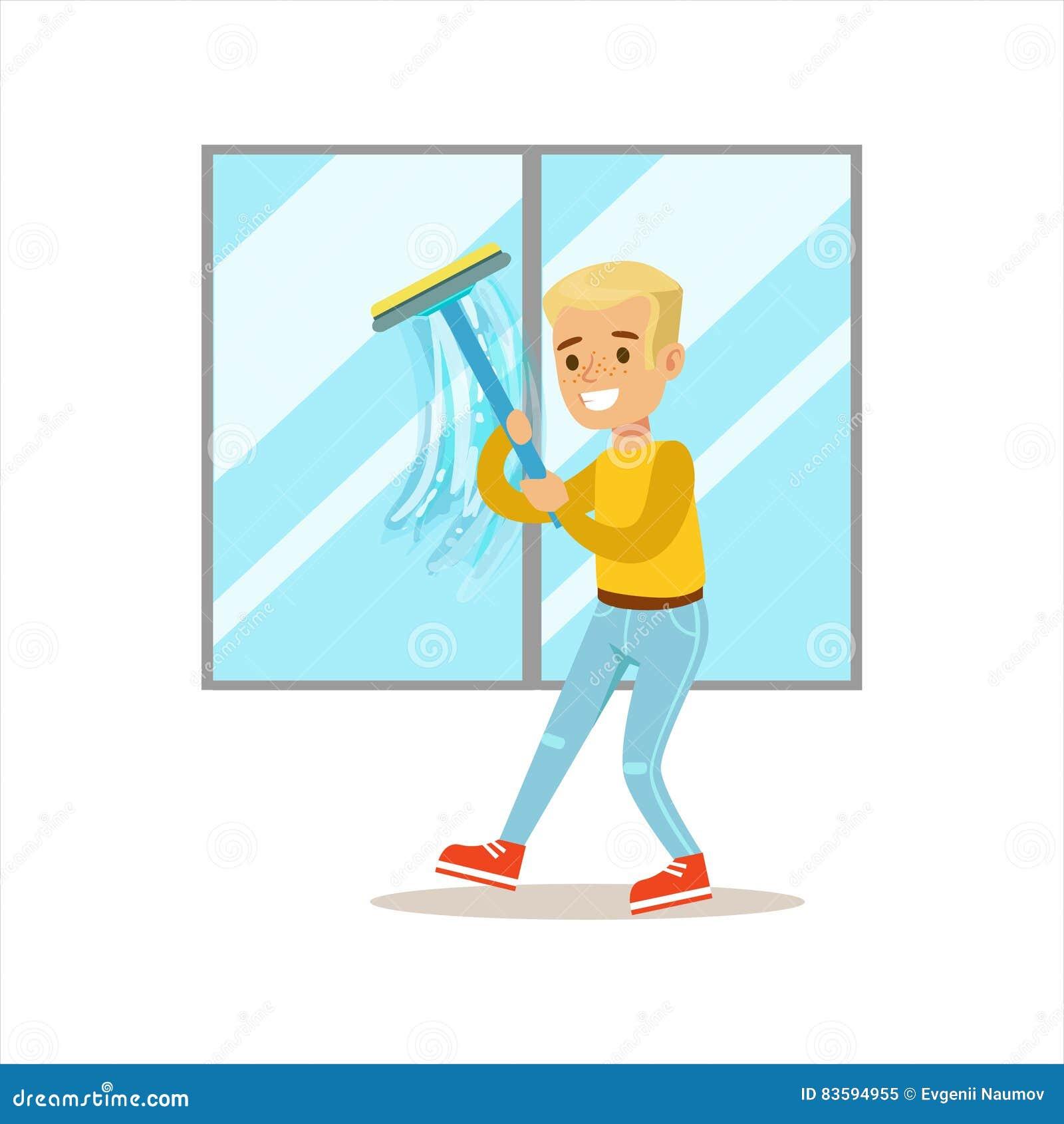 洗涤与橡皮刮板微笑的动画片孩子字符的男孩Windows帮助与家务和做议院清洁