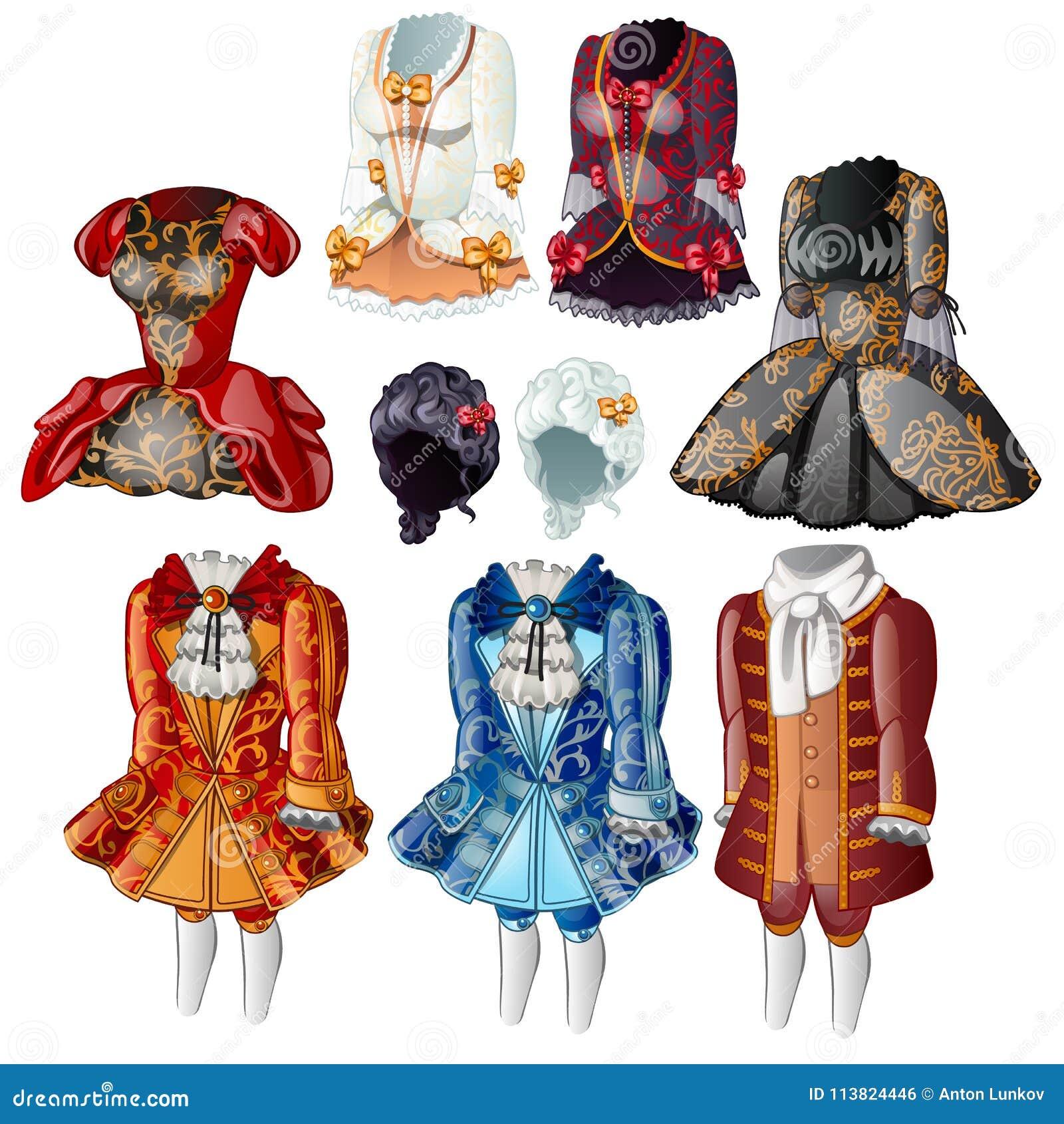 淑女和页的集合经典衣裳 老礼服的汇集,根据在国王法院的礼节