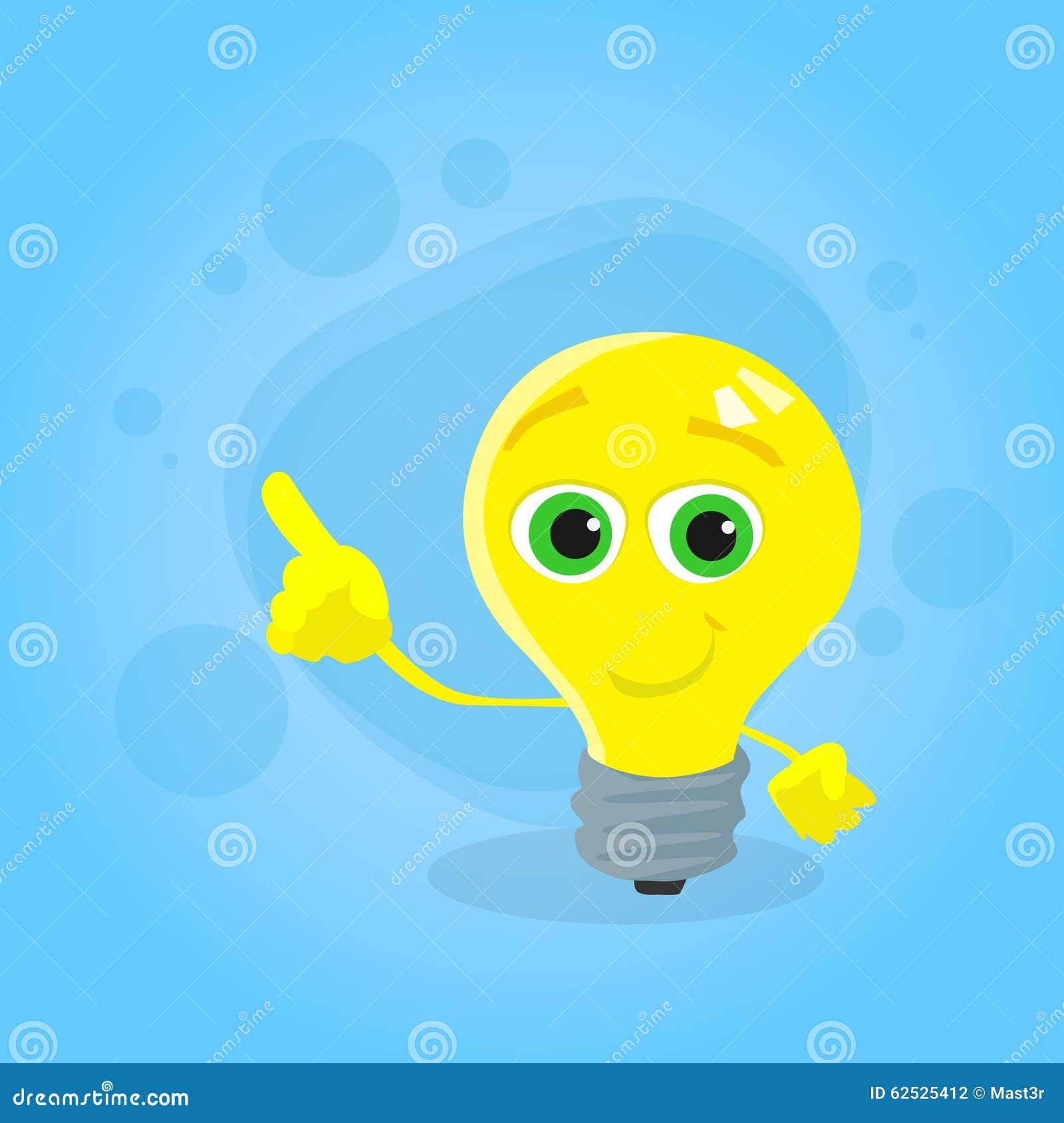 淡黄色电灯泡漫画人物点手指