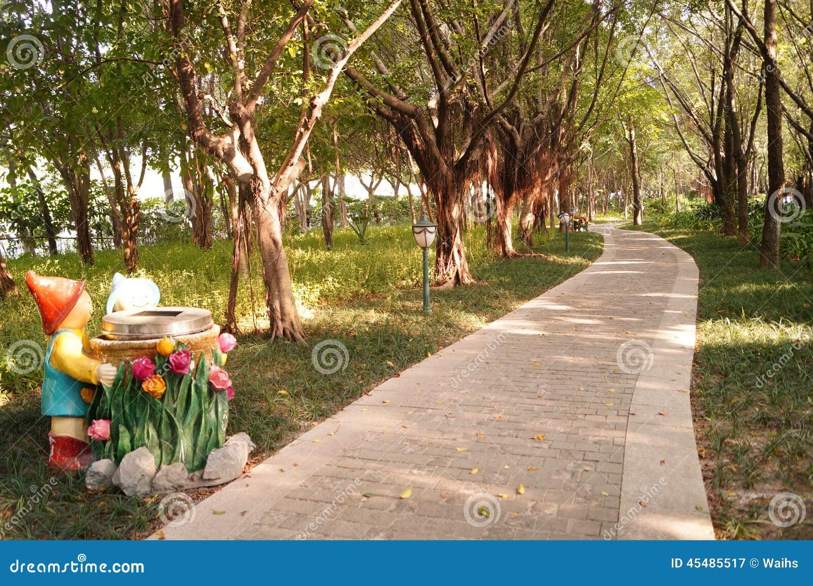 深圳,中国:绿化区和交通风景