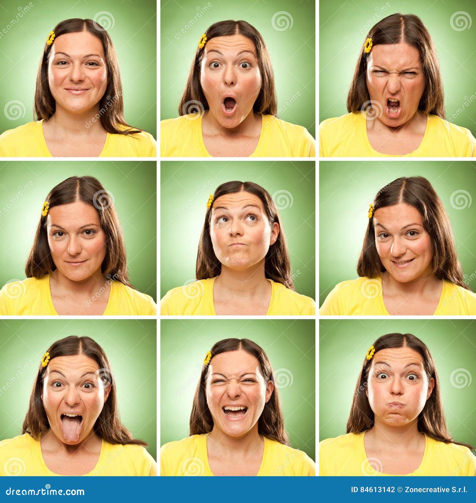 深色的长的头发成人白种人妇女正方形汇集套面孔表示喜欢愉快,哀伤,恼怒,惊奇,在绿色的哈欠