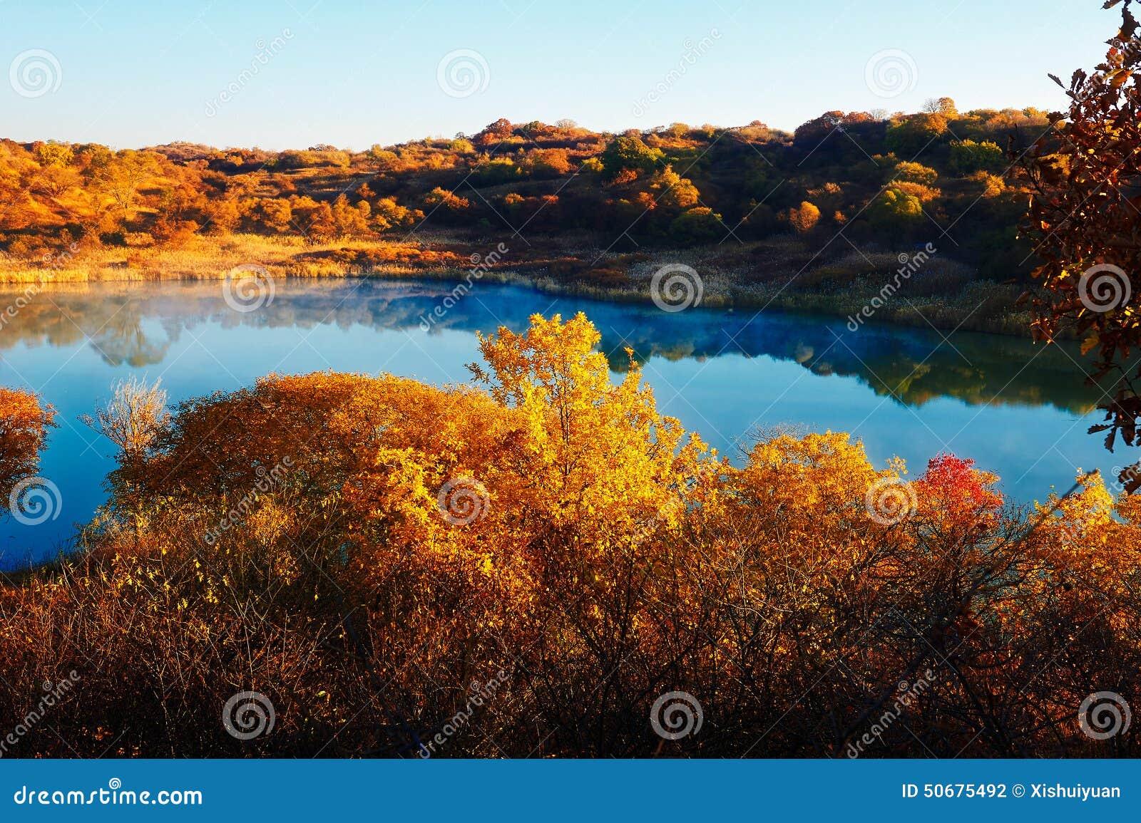 Download 深蓝湖和秋天树 库存照片. 图片 包括有 ,并且, 自治权, 航空, 蓝绿色, 红色, 日落, 森林, 小船 - 50675492